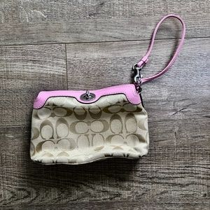 Coach Signature Light Khaki & Pink Mini Purse/ Bag